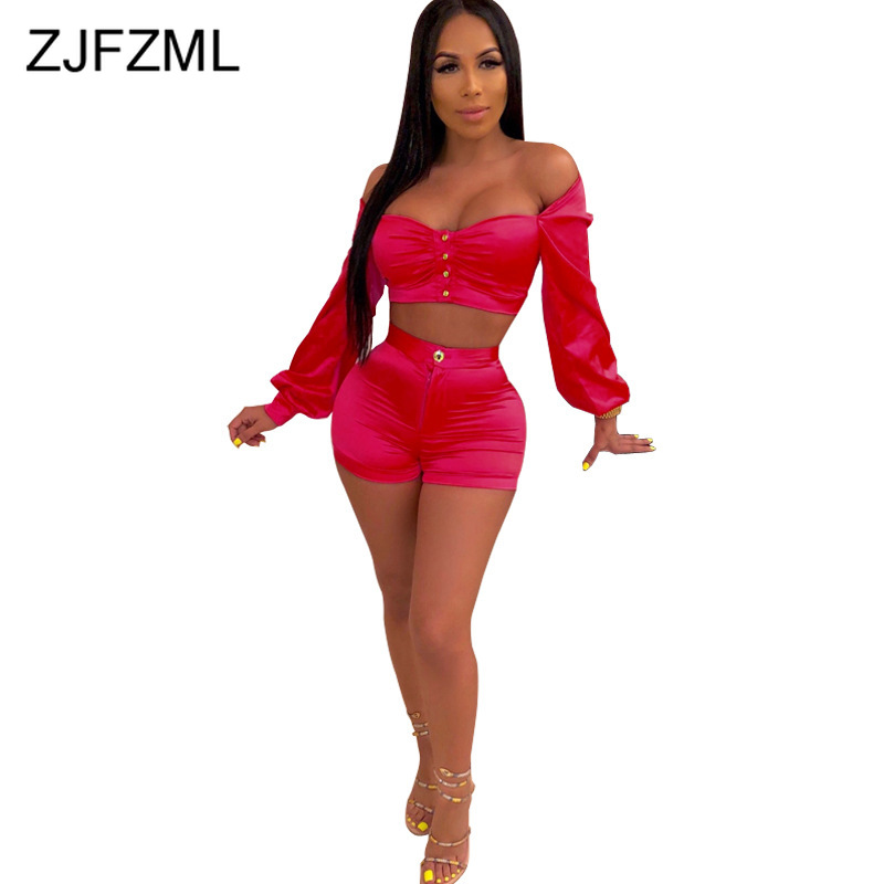 Neon Sexy 2 Piece Set Club Outfits Slash Neck Backless Lantern Sleeve Buttons Ruched Crop Tops + Bodycon Shorts Autumn Sweatsuit