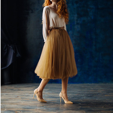 Tulle Skirts Brown Black 5-Layers Femininas Saias Jupe Maxi-Long Bridesmaid