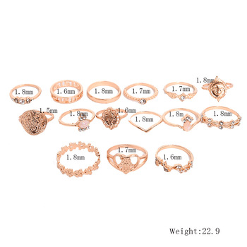 15 Pcs/set New Vintage Gold Coin Beauty Head Pattern Cross Love Heart Ring Set Women Wedding Anniversary Gift 2