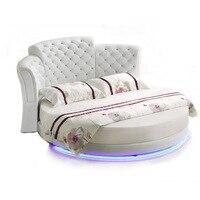 Smart bed frame camas bedroom кровать двуспальная lit beds سرير  muebles de dormitorio мебель LED light round genuine leather