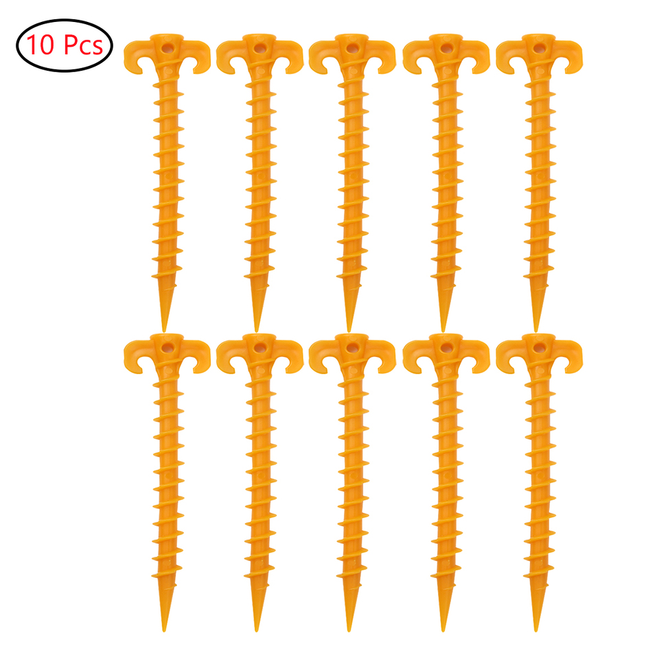 10Pcs Heavy Duty Screw Shape Stakes Pegs Nail Anchor for Holding Camping Tent US