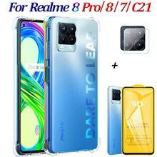 Transparent Telefon Fall Für Realme 8 Pro Fall Silikon Original Stoßfest Weiche Abdeckung Realme 8Pro Glas Realmi 7 C 21 Case Realme8 Pro Hülle