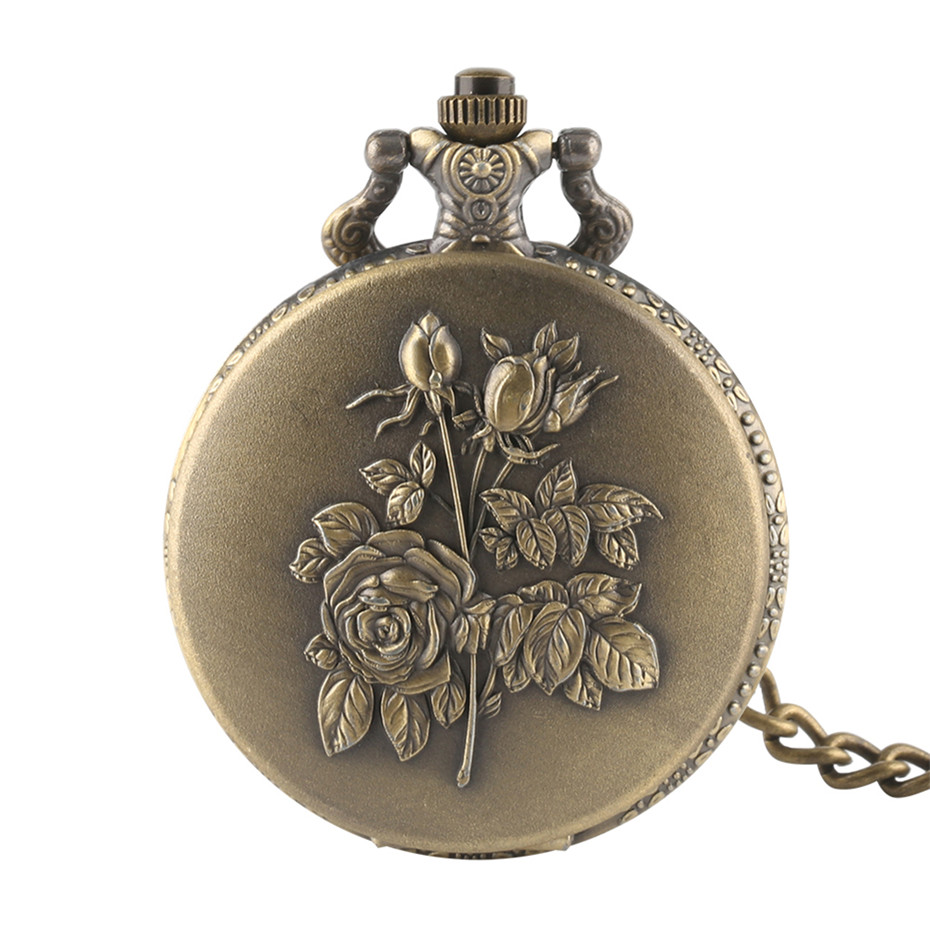 Elegance Rose Flowers Design Full Hunter Bronze Quartz Pocket Watch Steampunk Pocket Chain Retro Pocket Pendant Clock Men Women