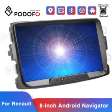 Podofo 2din Android 8.1 Car Radio Car Multimedia Player GPS Bluetooth WIFI Mirrorlink Car Stereo For Renault Duster/Logan/Dokker(China)