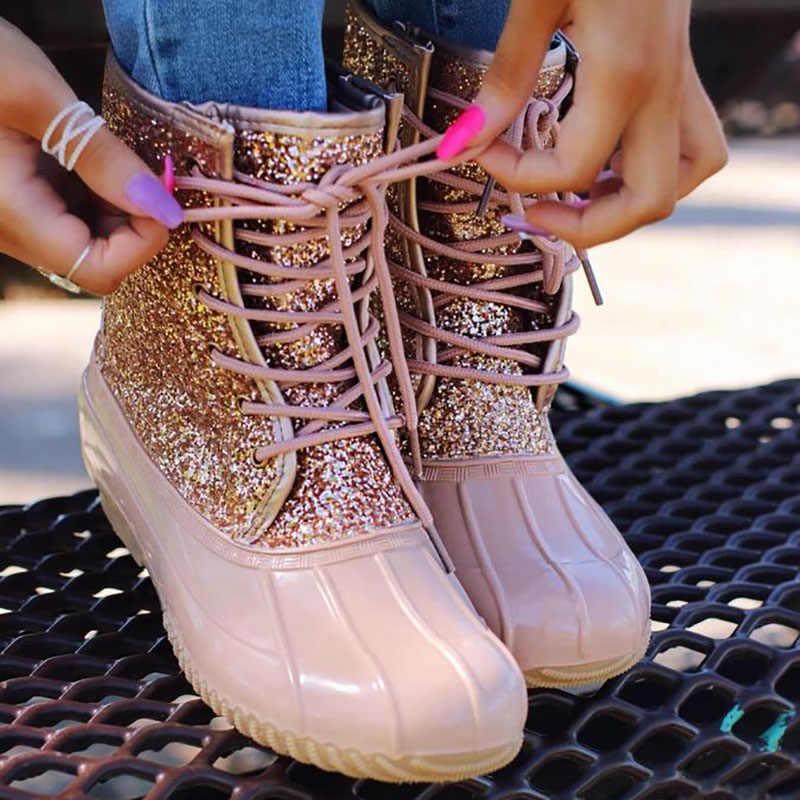Yağmur çizmeleri Bling su botları kadınlar için kar yarım çizmeler kadın kış jöle ayakkabı su geçirmez pullu Botas Mujer Invierno