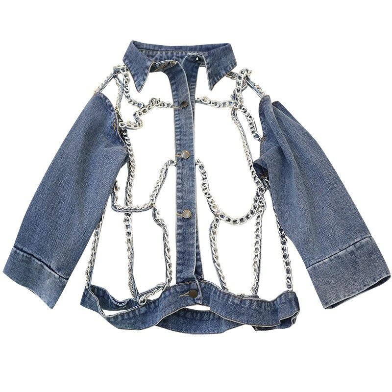 2019 Chic Design Women Jacket Coat Chain Hollow Out Long Sleeve Women Denim Jacket Vintage Women Coat Chaqueta Mujer