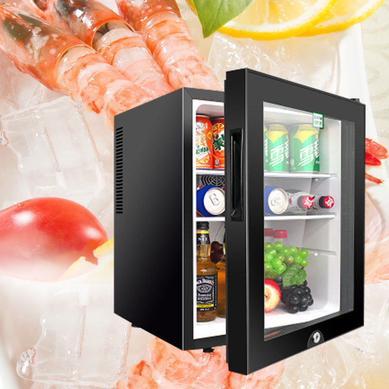 40L Hotel Room Small Refrigerator Mini Small Freezer Transparent Glass Door Refrigerator Tea Freshener