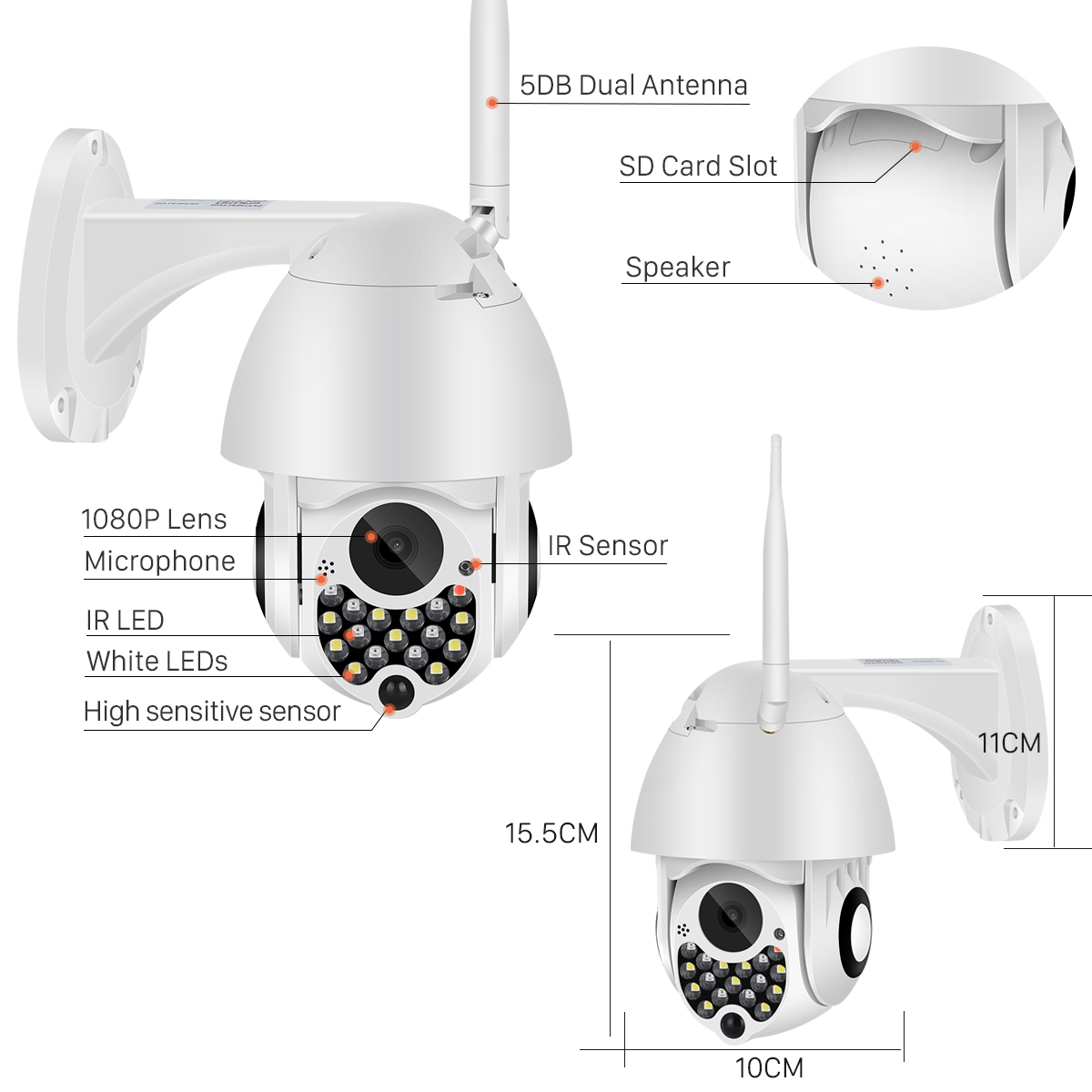 Hf598ca37be014da6ae751bb66eca64efJ 1080P Outdoor Wifi PTZ Camera with Siren Light Auto Tracking Cloud Home Security IP Camera 2MP 4X Digital Zoom Speed Dome Camera