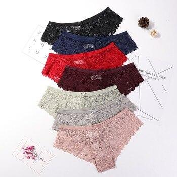 3 Pcs Panties for Woman Underwear  Lace Breathable Soft Lingerie Female Briefs Panty  Transparent Women's Underpants