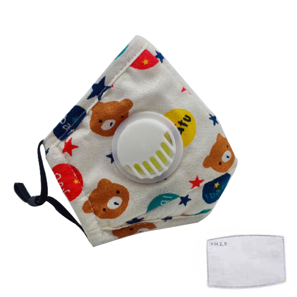 3Pcs Child FFP2 Dust Mask Thicken Cotton Filter PM2.5 KN95 Reusable Face Respirator Kids Respiratory Valve Gas Protective Mask
