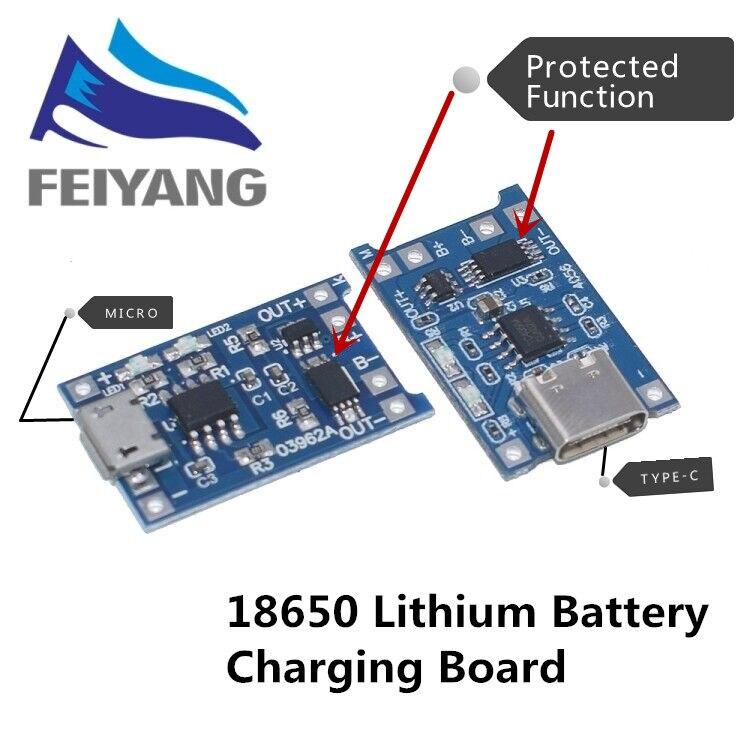 10 pièces Micro USB 5V 1A 18650 TP4056 chargeur de batterie au Lithium Module de charge avec Protection double fonctions 1A Li ion |