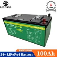 Batteria ricaricabile impermeabile al litio ferro fosfato BMS da 24v 100Ah LiFePo4 batteria ricaricabile impermeabile per auto da barca EU US nessuna tassa