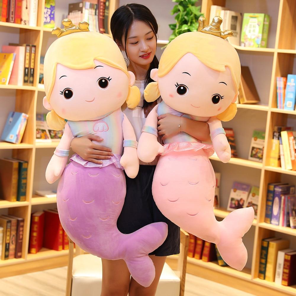 1pc 75/110CM Cartoon Crown Mermaid Plush Toy Stuffed Mermaid Doll Kids Girl Home Decoration Pillow Girlfriend Birthday Gifts