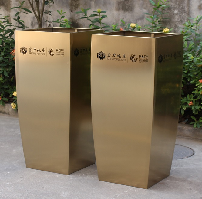2pcs PACK, 110cm High Stainless Steel Flower Pot Container Planter / Square Base Of 50x50cm / Gilding Brass Coating