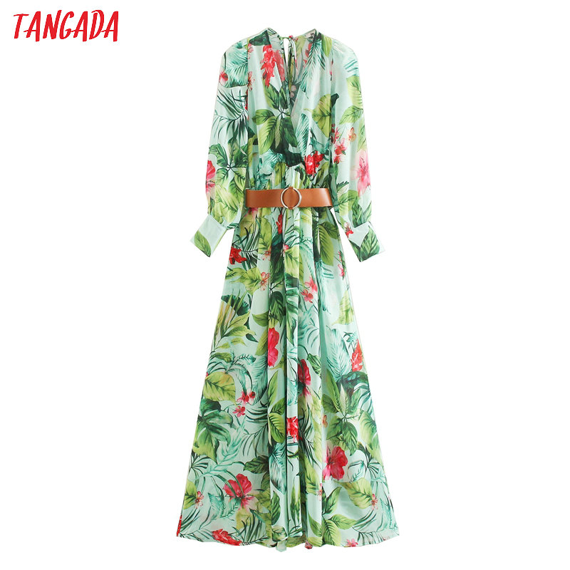 Tangada Fashion Women Leaf Print Maxi Dress With Belt Ladies Vintage Chiffon Long Dress Vestidos XN448