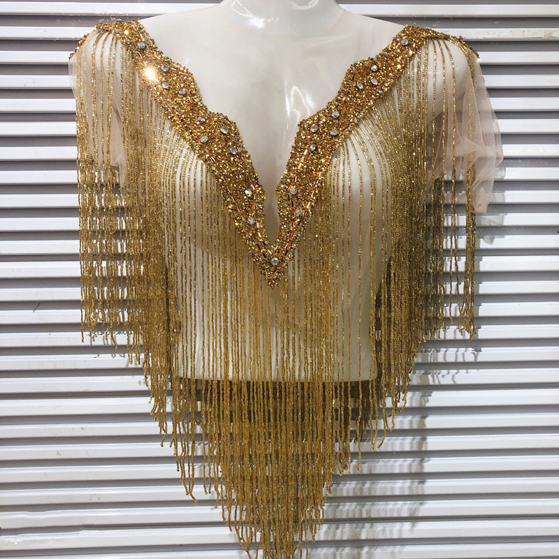 hot sale new wedding embroidered crystal beaded tassels collar appliques many color Deep V neckline with