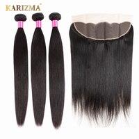 Karizma перуанские прямые пучки волос с фронтальной 13x4 закрытием 100% человеческие пучки волос с фронтальной Non Remy наращивание волос