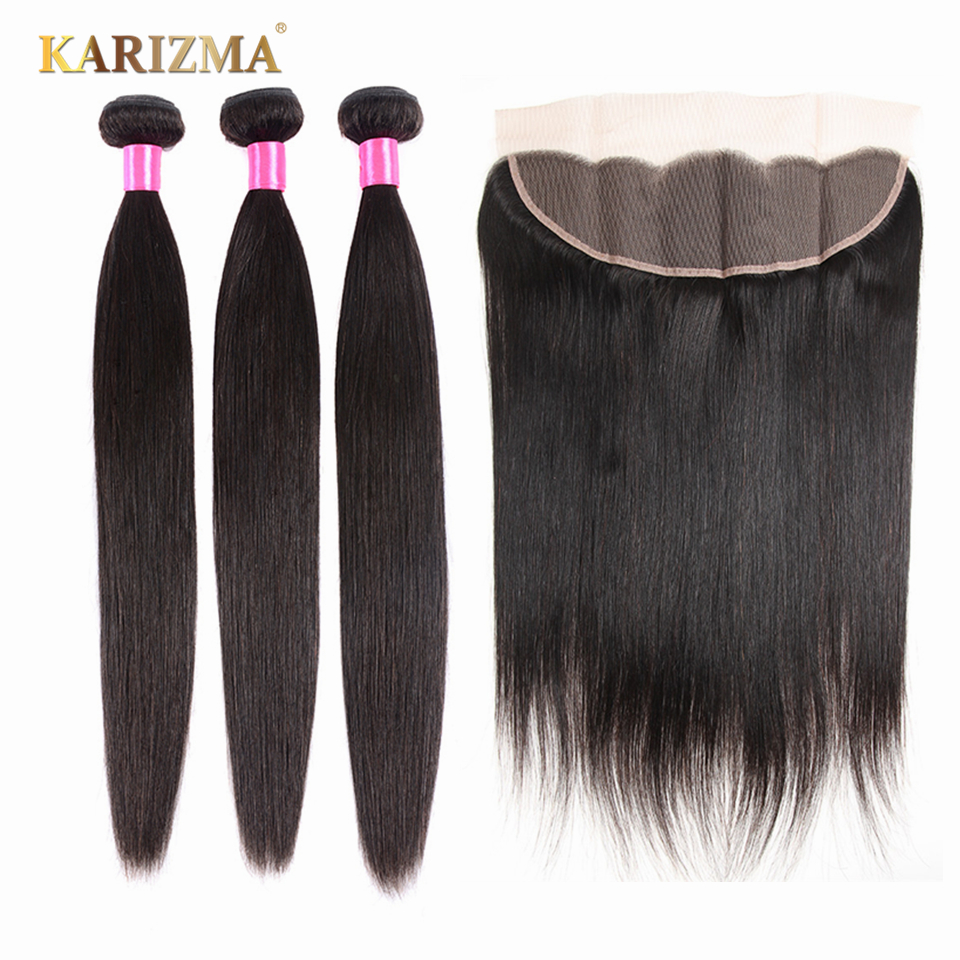 Karizma Peruvian Straight Hair Bundles With Frontal 13x4 Closure 100% Human Hair Bundles With Frontal Non Remy Hair Extension