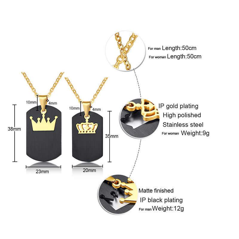 Мода 316L нержавеющая сталь черное золото король корона кулон пара ювелирных изделий королева цепи ожерелье влюбленных подарок на день рождения