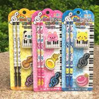 1 Set creativo notas musicales Piano serie Animal gomas para borrar de lápices con lápices de madera papelería estudiante coreano regalos