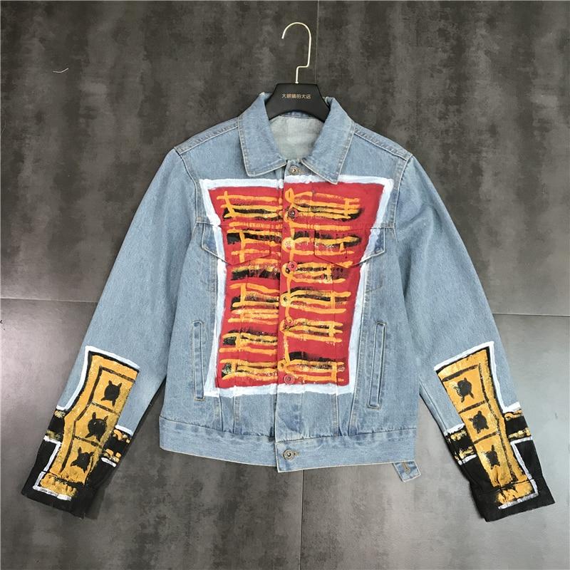 Nouveau mode chinois noeud rue Graffiti simple rangée bouton jean manteau court