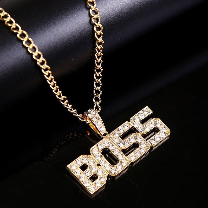 2020 Trendy Hip Hop Rhinestone Letter BOSS Gold Pendant Necklace Bling Bling...