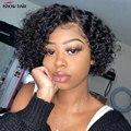 Короткий парик Pixie Cut Ishow, кудрявые человеческие волосы, парик для черных женщин, бесклеевой парик, Короткие парики Bob, машинный парик Pixie, чело...