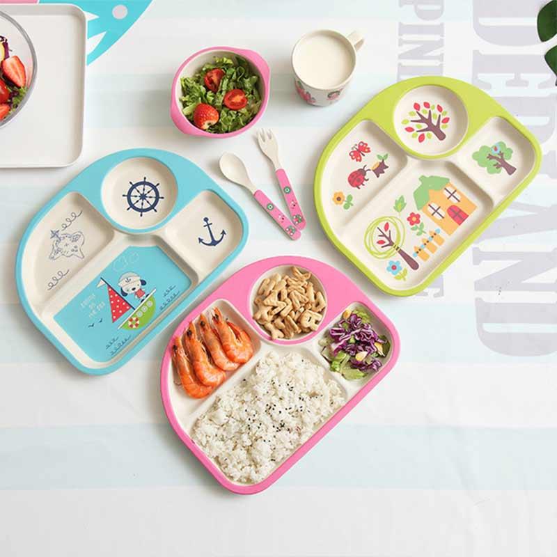 Dishes and Plates Sets 5Pcs/Set Bamboo Baby Feeding Bowl Dishes Fork  Fiber Creative Cartoon Rice Bowl   Diner Set Porcelaine