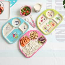 Dishes and Plates Sets 5Pcs/Set Bamboo Baby Feeding Bowl Fork  Fiber Creative Cartoon Rice Diner Set Porcelaine