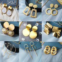X& P горячие женские серьги золотые Висячие серьги для женщин массивные большие висячие, геометрической формы свисающие серьги с бриллиантами Винтажные Ювелирные Изделия