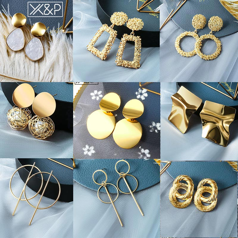 X&P 2019 Hot Women Earrings Gold Drop Earrings For Women Statement Big Geometric Hanging Dangle Earring Brincos Vintage Jewelry