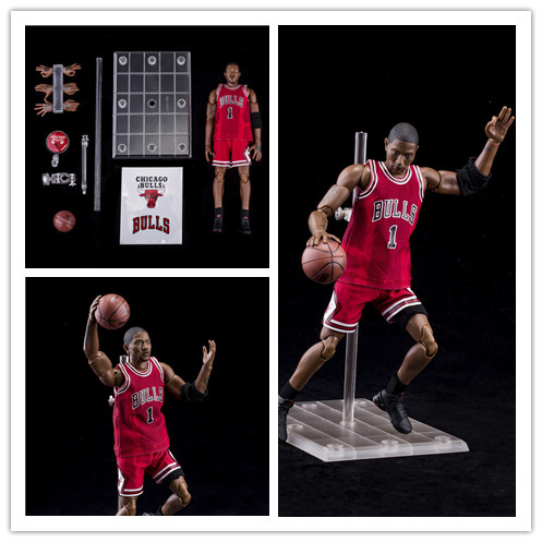 22cm Nba Basketball Star DELICK ROSE 1/9 Scale Action Figures Super Movable Joints Pvc Figurines High Quality Colection Doll Toy
