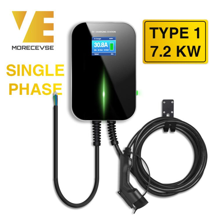 32A 1Phase EV Charger Electric Vehicle Charging Station With Type 1 Cable SAE J1772