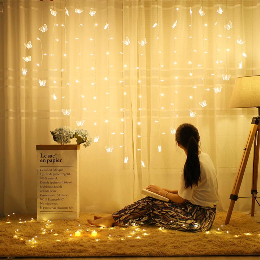 2x1.5m Heart LED Butterfly Curtain Light Icicle Curtain Light String 34 Butterfly 128 LED Holiday Christmas Fairy Wedding Decor