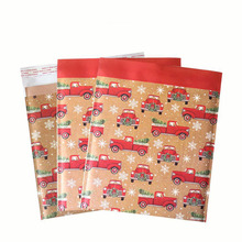 50Pcs Kraft Paper Bubble Mailer Christmas Car Pattern Bubble Bag Self Adhesive Shipping Mailing Bags Padded Courier Envelopes