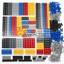 Teknik yapı taşları parçaları toplu MOC kalın tuğla 6 renk kombinasyonu aksesuarları çivili uzun kirişler Robot çocuk oyuncakları