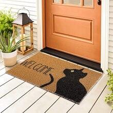 Felpudo de bienvenida con estampado de gato, alfombra antideslizante rectangular para pasillo de entrada, dormitorio, cocina, cojín artístico, manta de decoración para el hogar