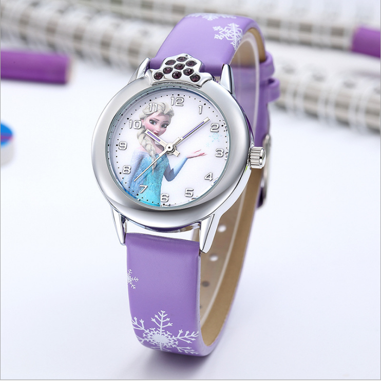 Princess Elsa Pattern Girls Watch Cartoon Elsa Anna Watches Leather Strap Wristwatch Kids Clock Reloj De Mujer