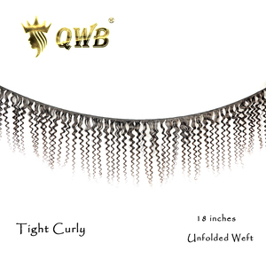 Image 2 - QWB Free Shipping Tight Curly 3Bundle/Lots 12~28Professional Ratio Brazilian Virgin Nature Color 100% Human Hair Extension
