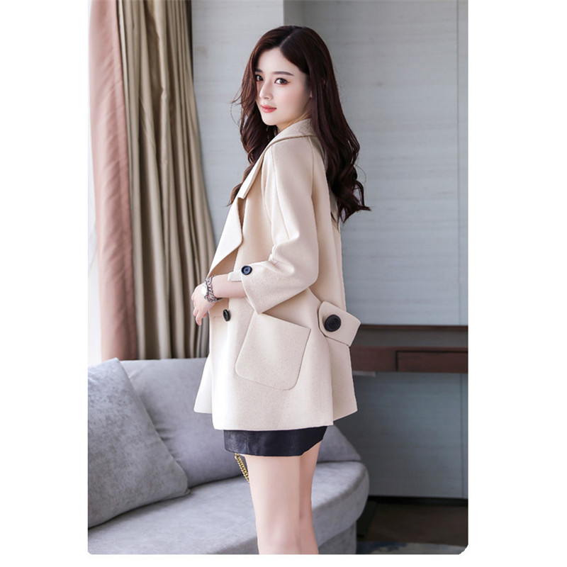 Autumn jacket women M-2XL plus size pink green beige coat 19 new long sleeve lapel fashion short paragraph jacket feminina LR484 26