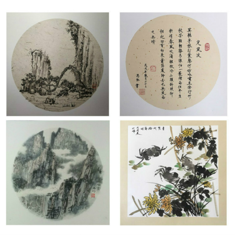 Calligraphy Papers Papel Arroz Painting Cards Thicken Ripe Xuan Paper Lens Card Painting Raw Rice Paper Cards 10sheets