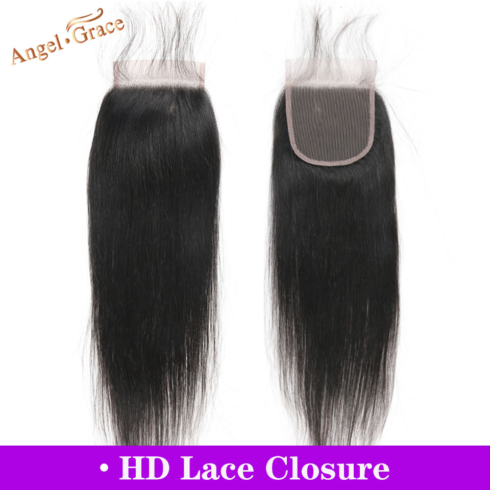 Angel Grace Hair Brazilian Straight Hair HD Lace Closure 10-20 Inches 4x4 Middle/Free Part Remy Human Hair Closure Free Shipping