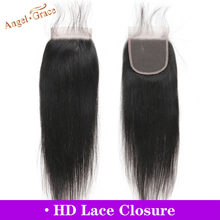 Anjo graça cabelo brasileiro em linha reta cabelo hd fechamento do laço 10-20 polegadas 4x4 meio/parte livre remy fechamento do cabelo humano frete grátis