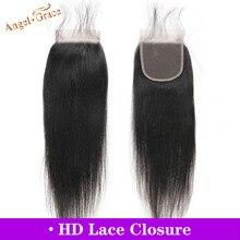 Anioł Grace włosy brazylijski proste włosy HD zamknięcie koronki 10 20 cali 4x4 środkowa/wolna część Remy uzupełnienie splotu ludzkich włosów darmowa wysyłka