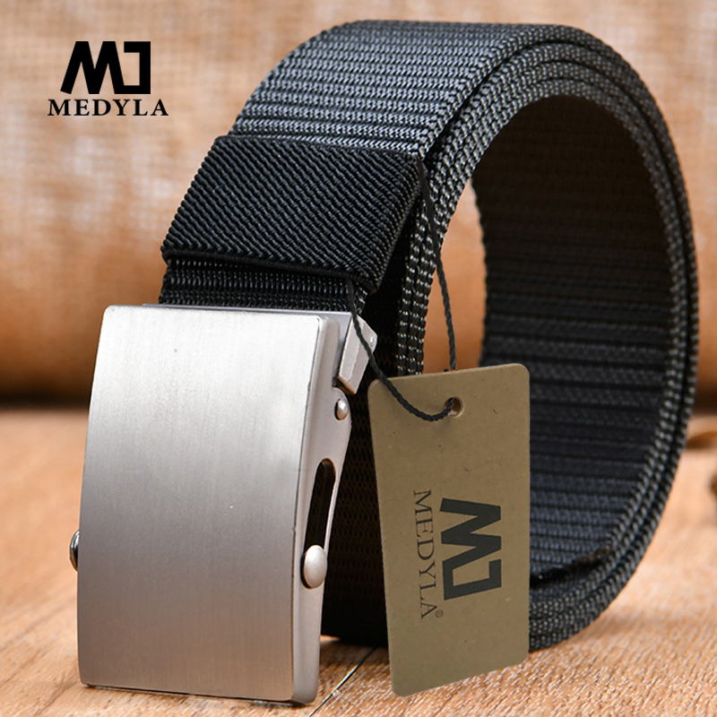 MEDYLA Wholesale  Male  High Quality Nylon Belt Waist Cinto Unisex Automatic buckle Military Fans Tactical Canvas Belt For Man a
