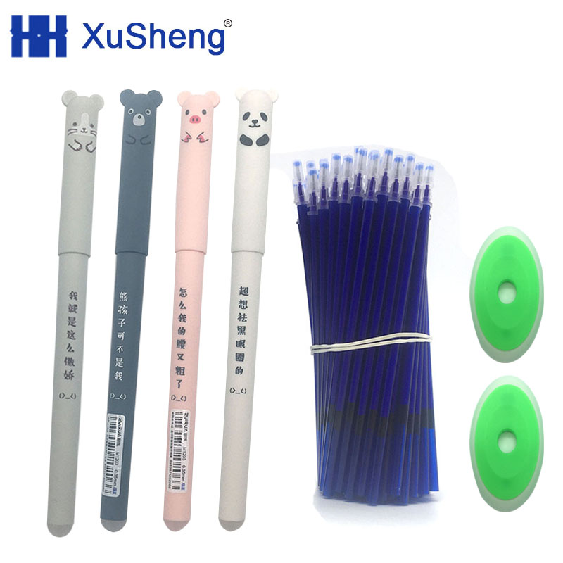 26pcs Kawaii Panda Erasable Pen 0.5mm Blue Black Cat Gel Pen Refill Washable Pen Rods For Handle Office School Stationery