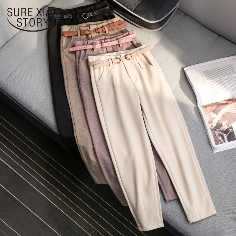 Autumn And Winter Wool Pants 2019 New Korean Style Women High Waist Belted Harem Slim Trousers Female Warm Long Pants 6992 50