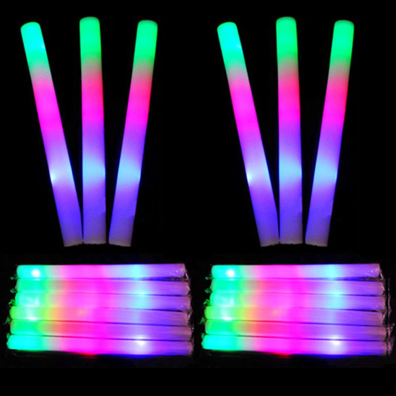 30 Pcs Light-Up Foam Sticks LED Soft Batons Rally Rave Glow Wands Multicolor Cheer Flashing Tube Concert For Festivals Birthdays