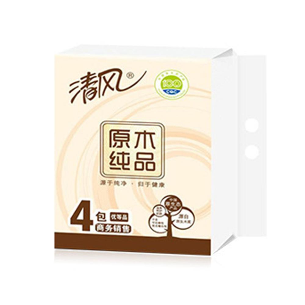 4 Pieces Primary Wood Pulp Pumping Paper 100 Pumping 3 Layers Tissue Paper Toilet Paper Pumping Napkin Paper