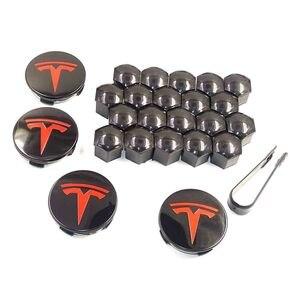 Wheel Cap 4pcs 3 Color Stainless Steel Wheel Center Caps Hub Cover Emblem 20 Pcs Wheel Lug Nut Covers For Tesla Model 3 S X(China)